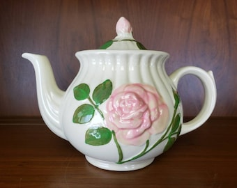Shawnee pottery tea pot pink rose hand painted embossed