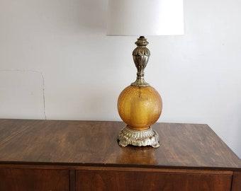 Amber yellow glass vintage table lamp mid century modern three way light cast metal base Hollywood Regency Lamp