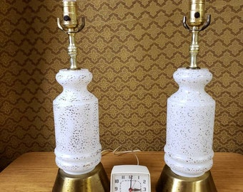Matching lamps 3 way globe lamps white and gold mid century lighting
