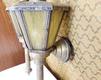 Outdoor lamp set mid century wall lamp amber glass metal colonial