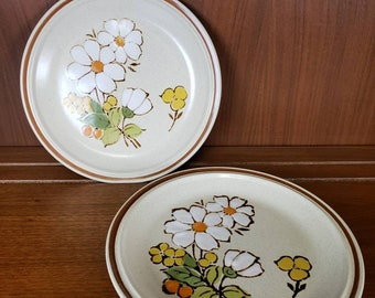 Hearthside Summertime Stoneware Salad Plate Floral Expressions set of 2