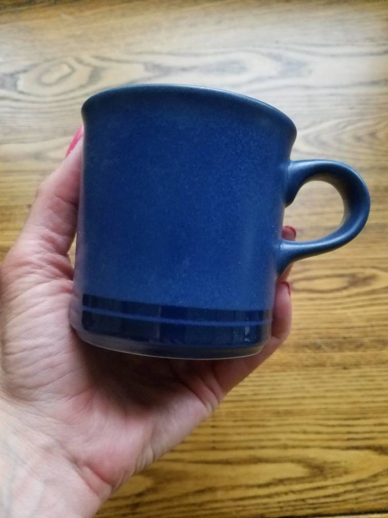 Pfaltzgraff morning light pattern coffee cup and saucer set dark blue geometric triangular shapes dishes