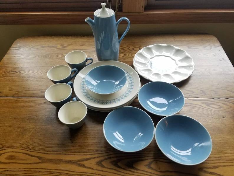Homer Laughlin Blue Fleur De Lis 1963 Vouge Ironstone dish set image 0