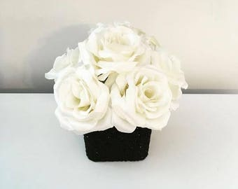 Black and white vase etsy black and white rose bouquet glitter wedding centerpiece black and white centerpiece glitter vase white roses mightylinksfo