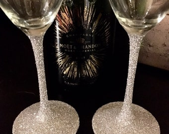 Silver champagne flutes, sparkling glasses, champagne glasses, silver champagne glasses, wedding glasses, champagne flutes, pair of flutes