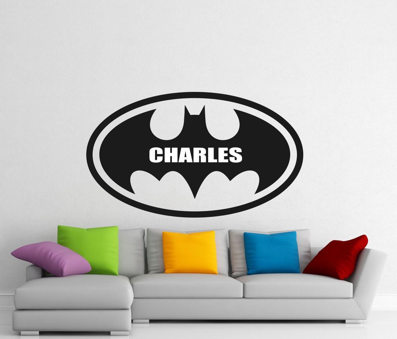Childrens Name Wall Stickers Art Personalised Batman Comics Boys//Girls Bedroom