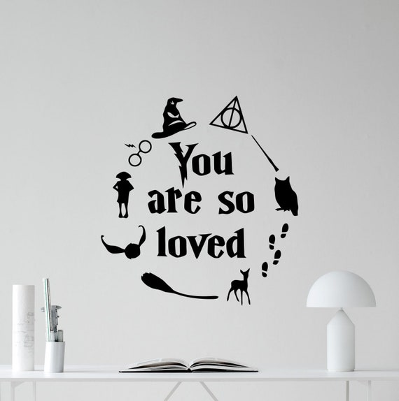 harry potter wall decal you are so loved sign quote walt | etsy