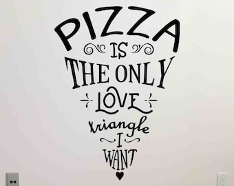 Pizza Wall Decal Is The Only Love Triangle Food Pub Cafe Sign Poster Pizzeria Office Quote Gift Vinyl Sticker Decor Art Mural Print 110bar
