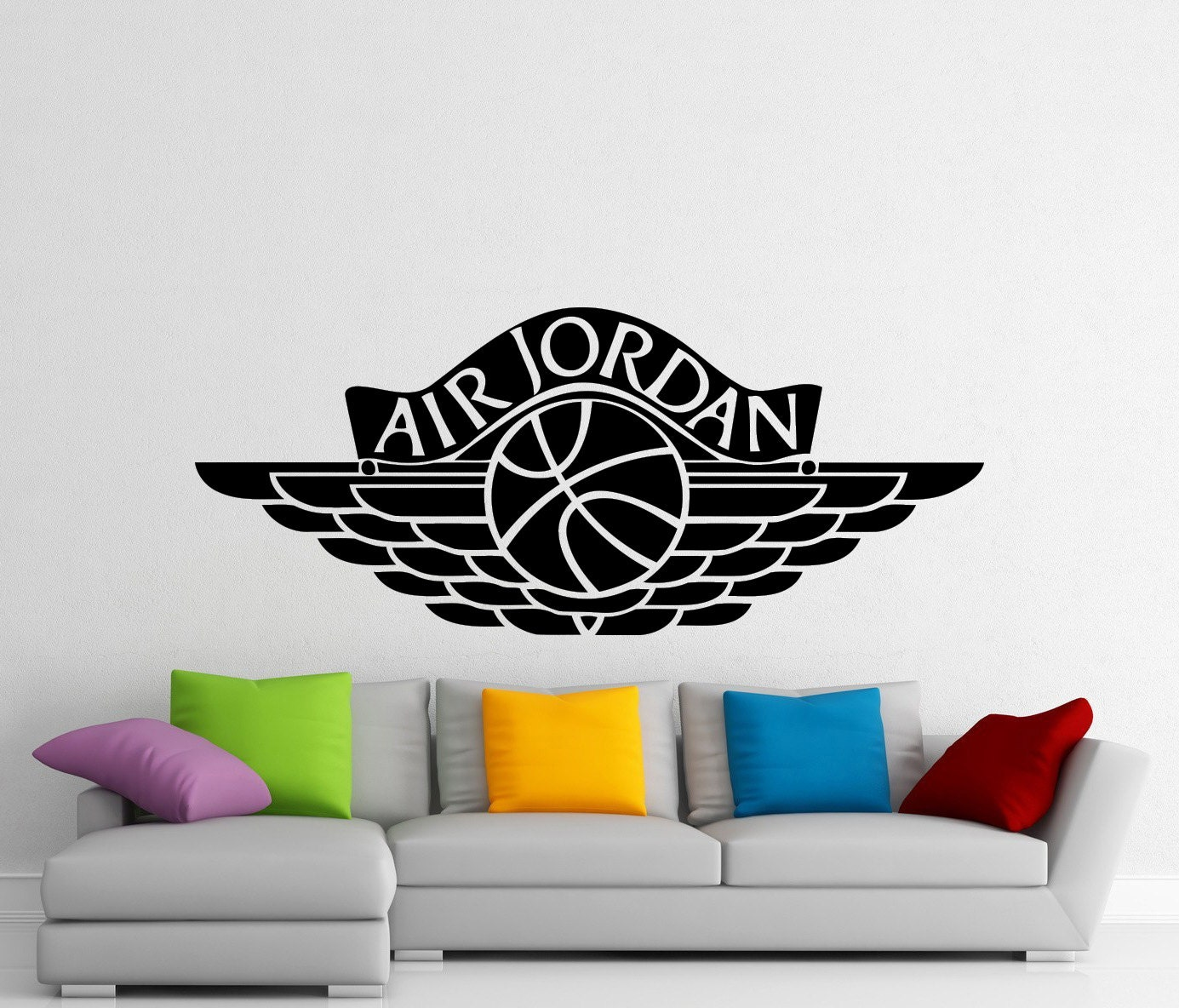 Air jordan wall sticker sports basketball logo vinyl decal etsy