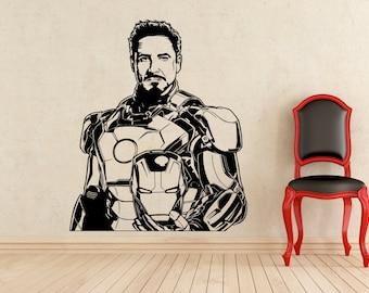 Tony Stark Stickers Iron Man Wall Vinyl Decals Home Interior Murals Art Decoration (159z)