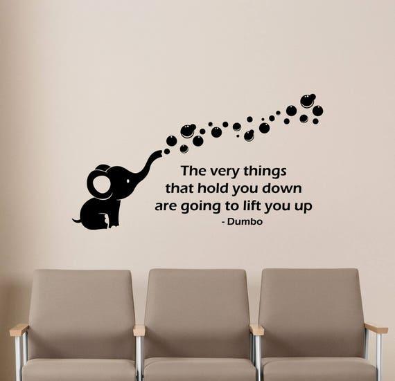 dumbo wall decal walt disney quote elephant vinyl sticker kids   etsy