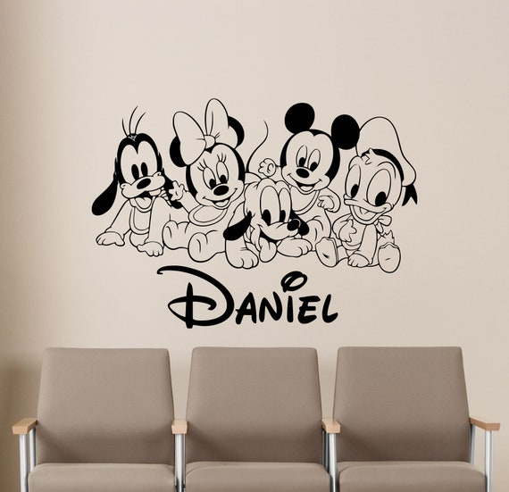 personalized disney wall decal custom name baby child walt etsyimage 0