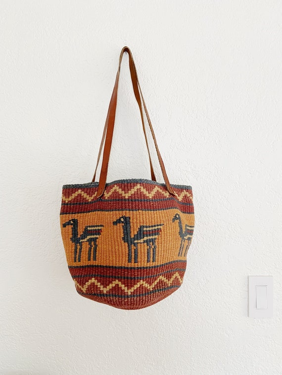 Vintage Sisal Market Bag / Woven Jute Tote Bag