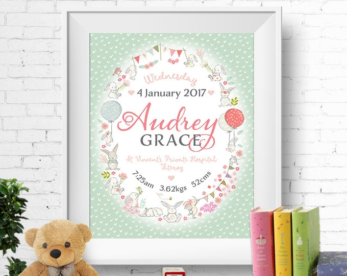 Birth stats print, wall art, birth announcement poster, birth details, customised, bunnies, rabbits, baby girl, mint green, digital