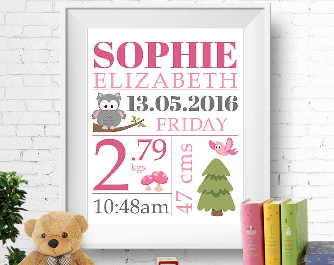 Birth stats print, wall art, birth announcement poster, birth details, customised, owl, tree, bird, baby girl, pink, grey, digital