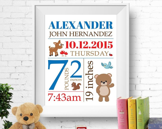 Birth stats print, wall art, birth announcement poster, birth details, customised, woodland forest animals, boy, blue, red brown digital