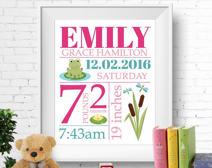 Birth stats print, wall art, birth announcement poster, birth details, customised, frog, lotus, dragonfly, baby girl, pink, teal, digital