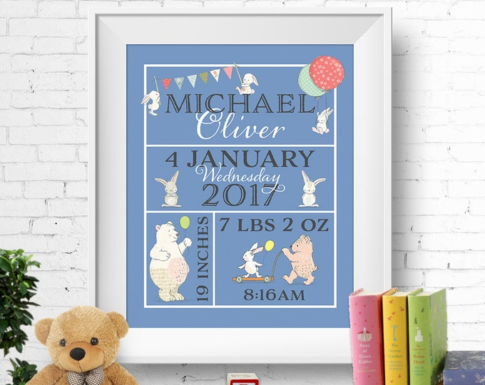 Birth stats print, wall art, birth announcement poster, birth details, customised, bunnies, rabbits, bears, baby boy, digital printable