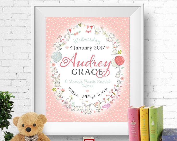 Birth stats print, wall art, birth announcement poster, birth details, customised, bunnies, rabbits, baby girl, pink, digital