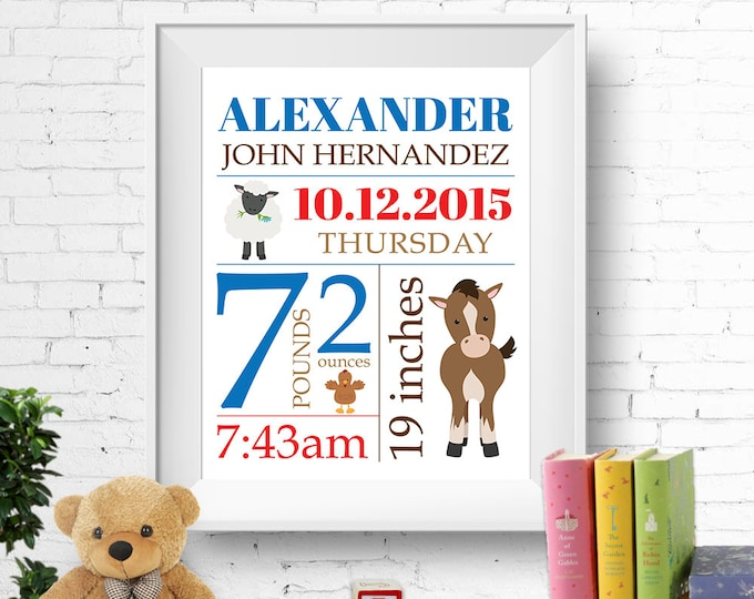 Birth stats print, wall art, birth announcement poster, birth details, customised, farm animals, horse, sheep, baby boy, digital printable