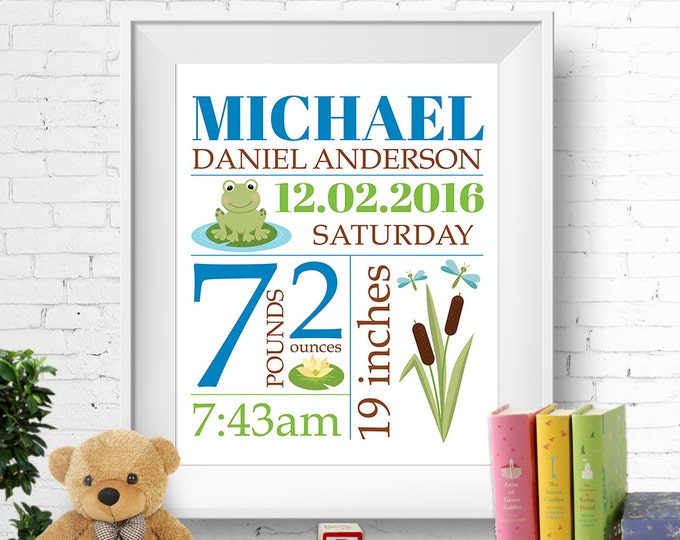 Birth stats print, wall art, birth announcement poster, birth details, customised, frog, lotus, dragonfly, baby boy, blue, green, digital