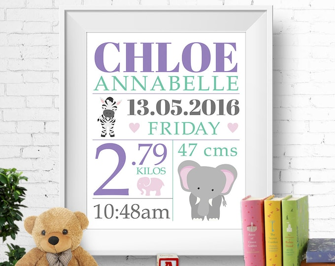 Birth stats print, wall art, birth announcement poster, birth details, customised, safari, elephant, zebra, baby girl, digital printable