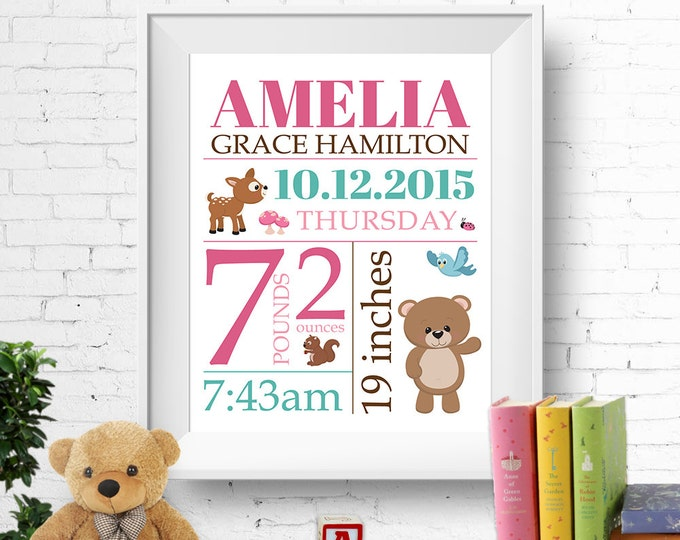 Birth stats print, wall art, birth announcement poster, birth details, customised, woodland forest animals, bear, deer, baby girl,  digital