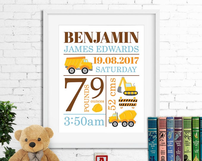 Birth stats print, wall art, birth announcement poster, statistics, construction, cement mixer, dump truck, baby boy, digital printable