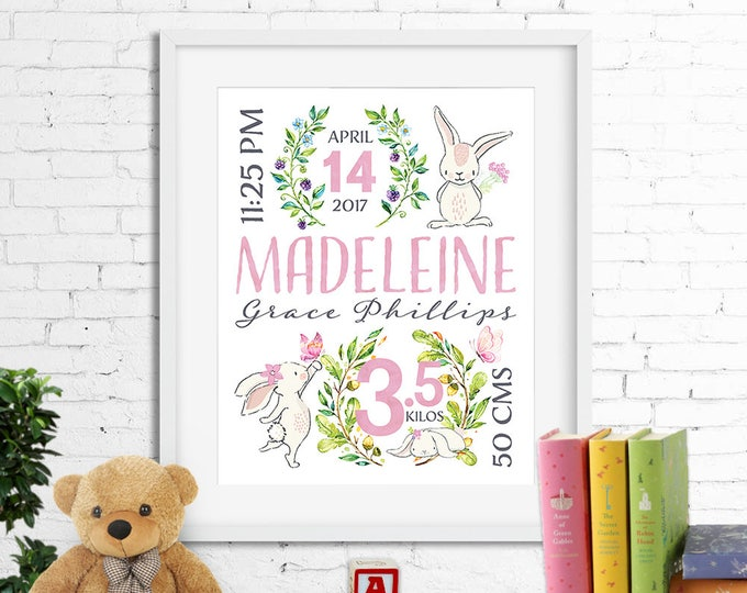 Birth stats print, wall art, birth announcement poster, personalised, bunnies rabbits butterflies, baby girl, pink, digital printable
