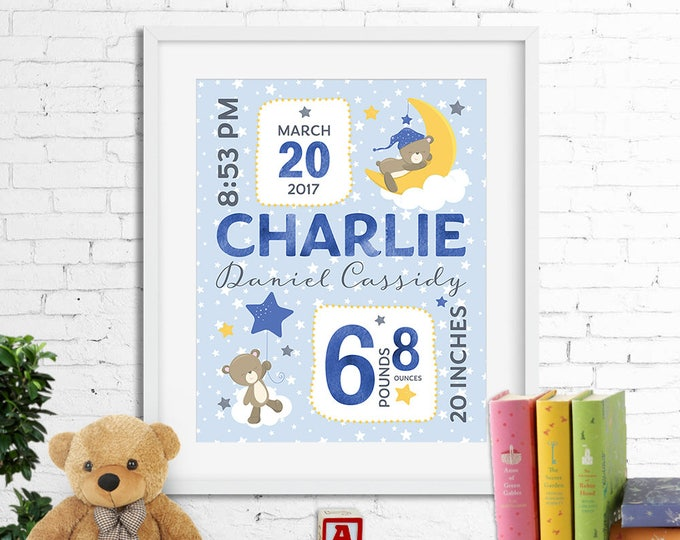 Birth stats print, wall art, birth announcement poster, birth details, customised, sleepy bear, clouds, stars, moon, baby boy, digital file