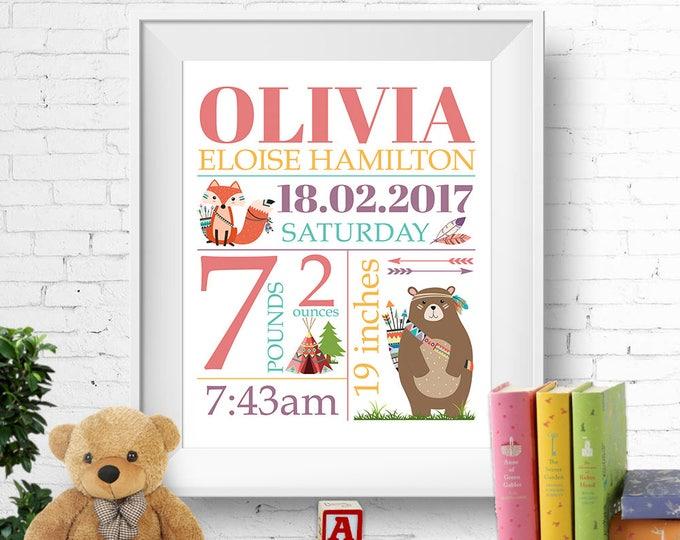 Birth stats print, wall art, birth announcement poster, birth details, customised, tribal, bear, fox, girl, digital