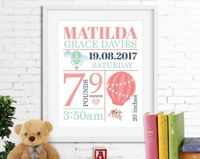 Birth stats print, wall art, birth announcement poster, birth details, customised, hot air balloon, baby girl, coral, aqua, digital
