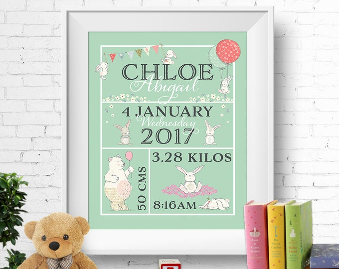 Birth stats print, wall art, birth announcement poster, birth details, customised, bunnies, rabbits, bears, baby girl, green, digital
