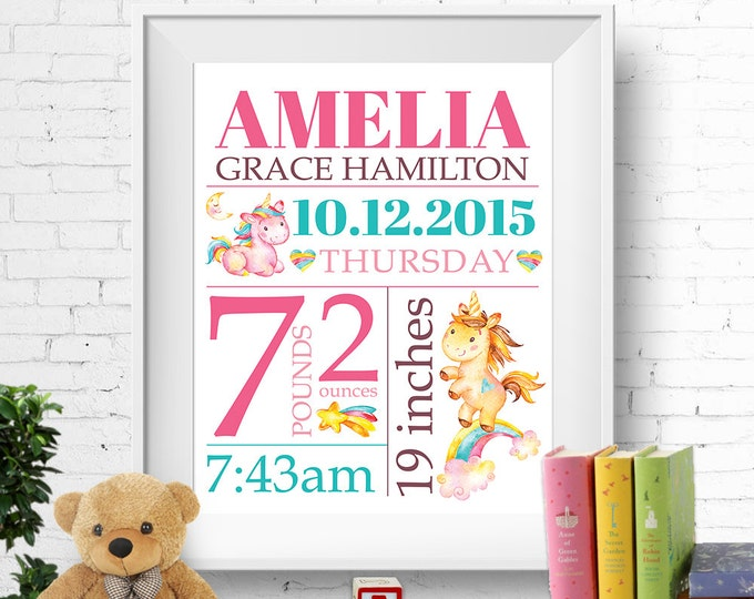 Birth stats print, wall art, birth announcement poster, birth details, customised, unicorns, rainbows, baby girl, pink, turquoise, digital