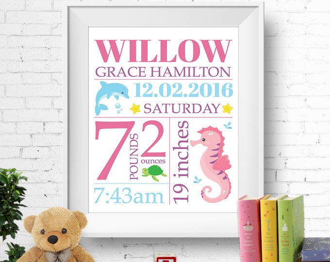 Birth stats print, wall art, birth announcement poster, birth details, customised, ocean, sea, seahorse, dolphin, turtle, girl, digital