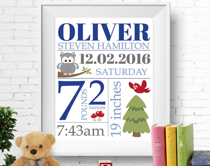 Birth stats print, wall art, birth announcement poster, birth details, customised, owl, baby boy, blue and grey, digital