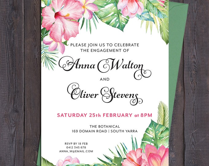 Tropical invitation, pink flowers, for any occasion - engagement, bridal or baby shower, luau, save the date, wedding, digital printable