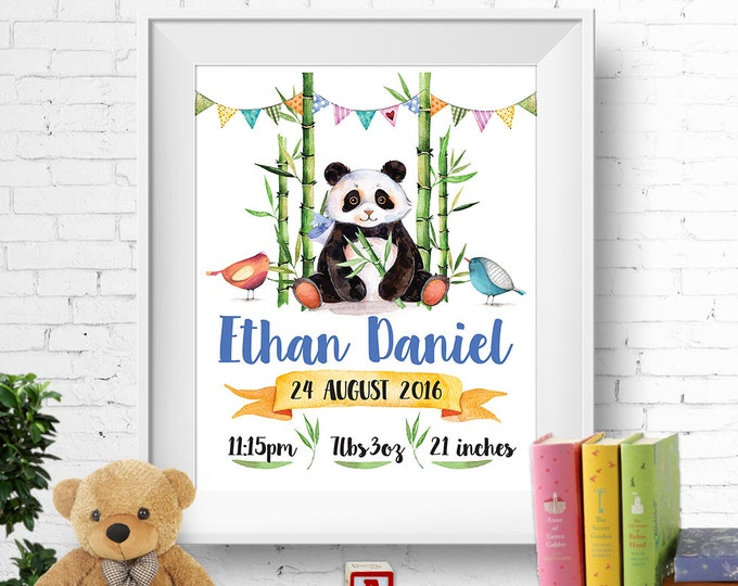 Birth stats print, wall art, birth announcement poster, birth details, customised, cute panda, birds, bamboo, baby boy, digital printable