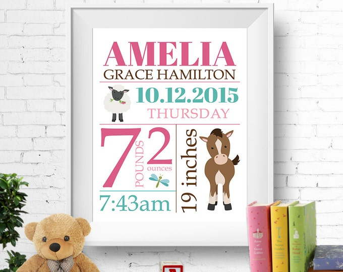 Birth stats print, wall art, birth announcement poster, birth details, customised, farm animals, horse, sheep, baby girl, digital file