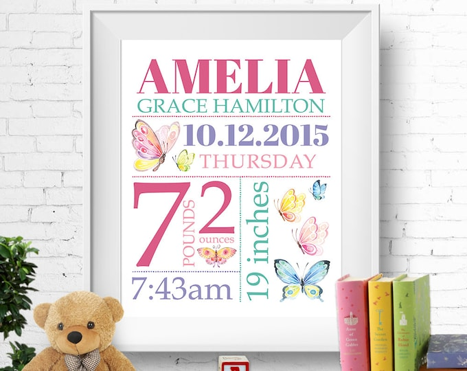Birth stats print, wall art, birth announcement poster, personalised, customised, butterflies, baby girl, pastels, digital