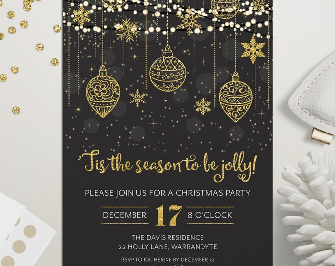 Christmas invitation, Christmas party invitation, Xmas holiday digital printable, gold and black, fairy lights, snowflakes, ornaments