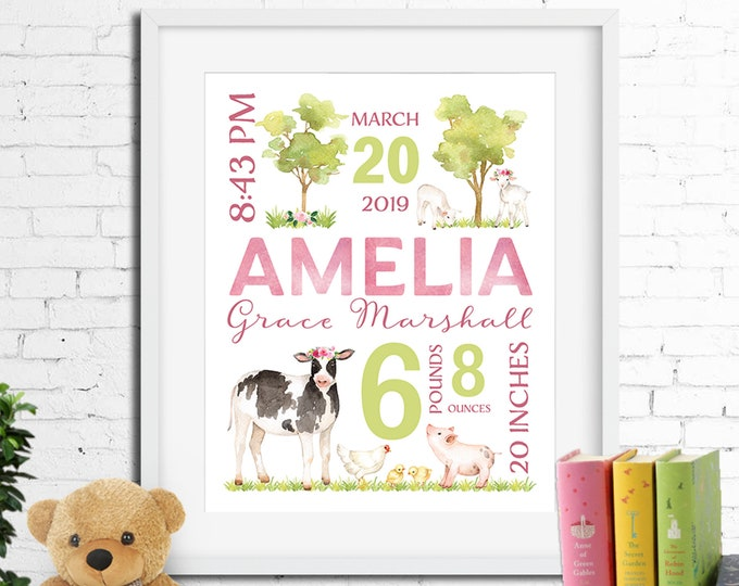Birth stats print, wall art, birth announcement poster, birth details, customised, farm animals, cow, lamb, pig, baby girl digital printable