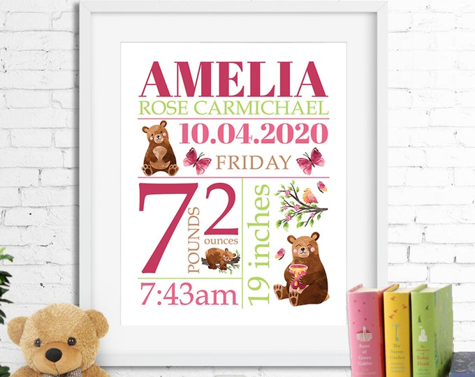 Birth stats print wall art birth announcement poster birth details, bears birds butterflies baby girl pink brown digital