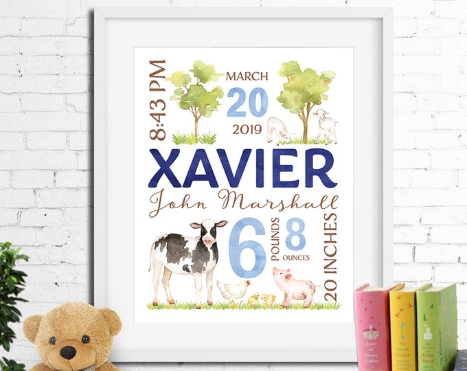Birth stats print, wall art, birth announcement poster, birth details, customised, farm animals, cow, lambs, pig, baby boy digital printable