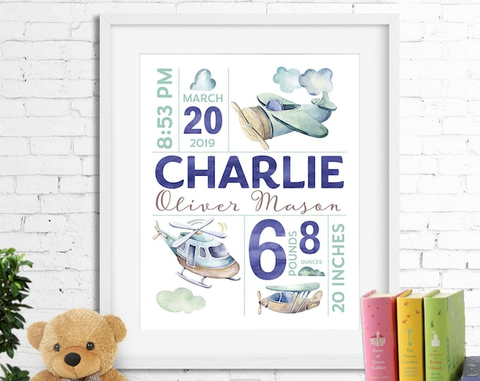 Birth stats print, wall art, birth announcement poster, birth details, customised, planes, helicopter, airplane, baby boy digital printable