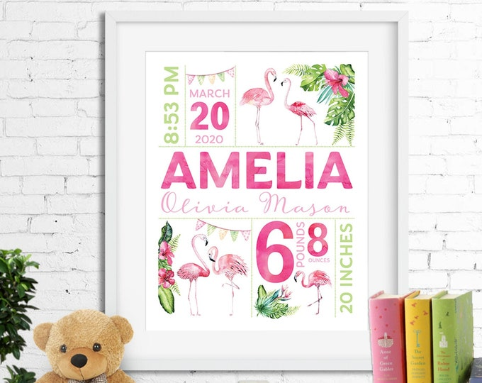 Birth stats print wall art birth announcement poster birth details, tropical watercolour flamingos hibiscus baby girl pink aqua digital