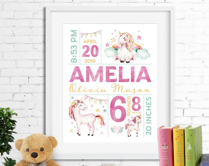 Birth stats print wall art birth announcement poster birth details, watercolour unicorns, rainbows, baby girl, pink aqua, digital
