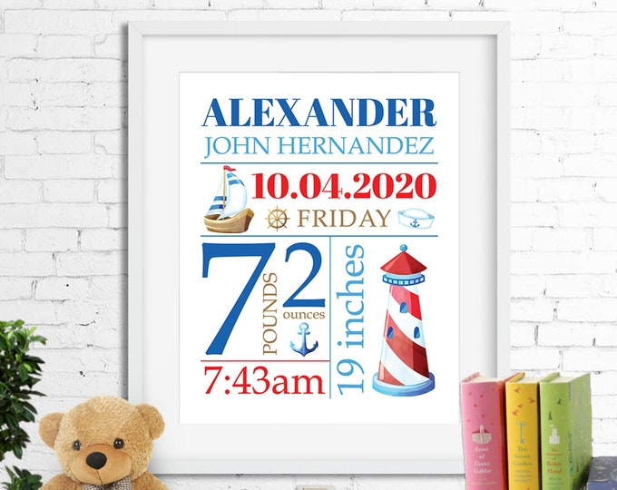 Birth stats print wall art, birth announcement poster, birth details nautical sailor boat anchor lighthouse baby boy blue and red digital