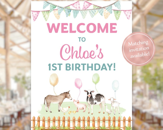 Farm animals birthday party welcome sign watercolour petting zoo girl any age lamb cow donkey pig blue baby animals printable