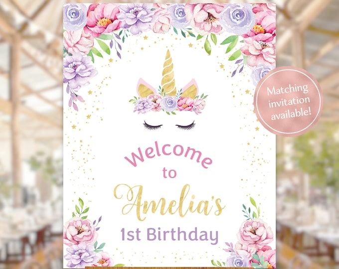 Unicorn welcome sign birthday party watercolour girl gold pink purple 1st birthday first birthday printable